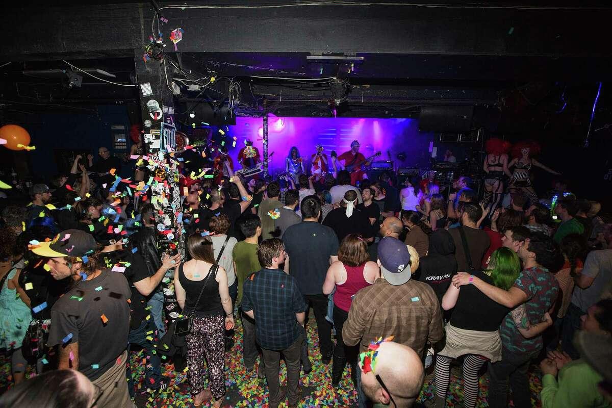 Super Geek League performs at El Corazon on April 22, 2016 in Seattle, Washington.