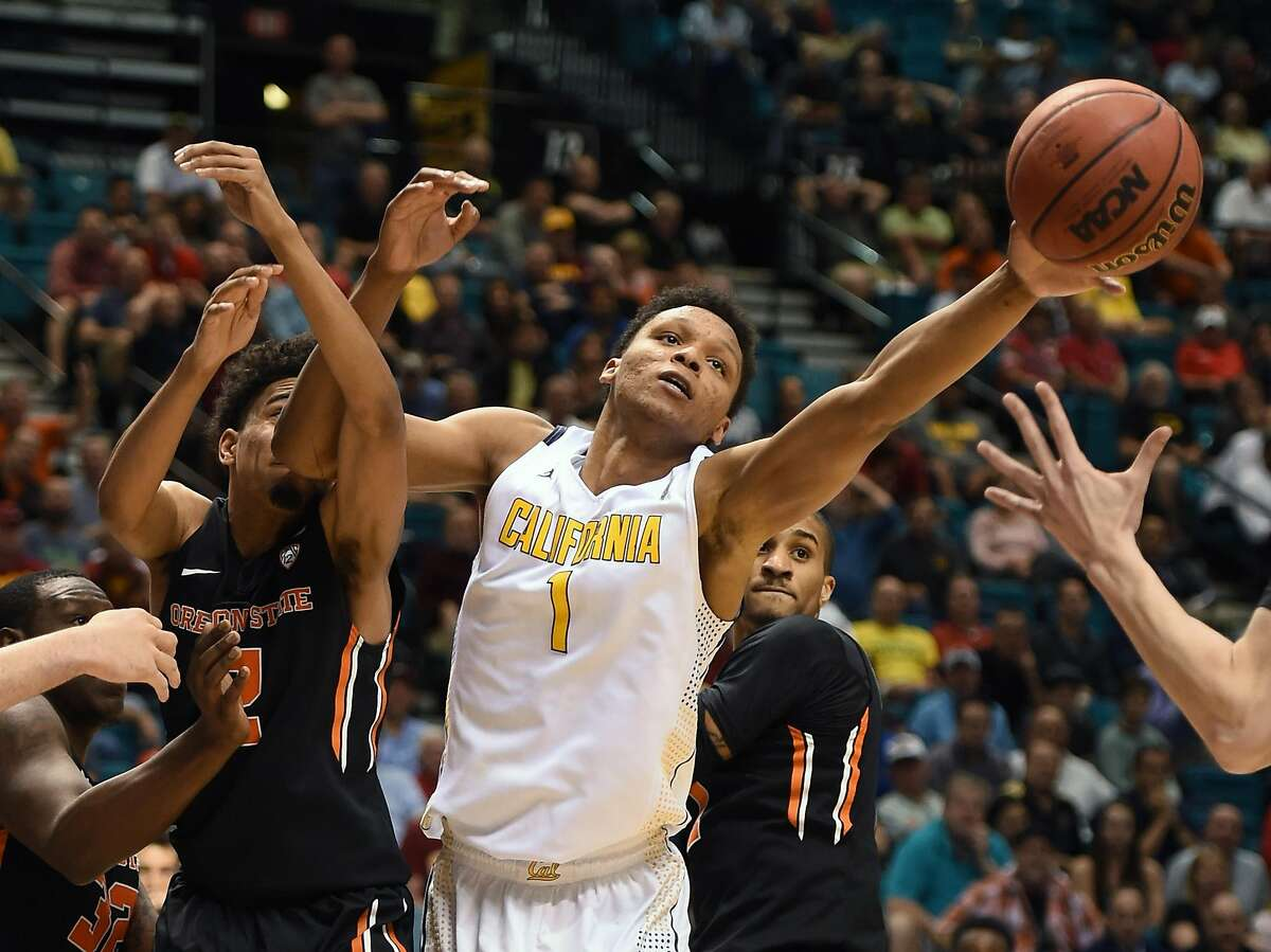 Ivan Rabb #1 of the California Golden Bears and Stephen Thompson Jr. #2 of the Oregon State Beavers go after a rebound during a quarterfinal game of the Pac-12 Basketball Tournament at MGM Grand Garden Arena on March 10, 2015 in Las Vegas, Nevada. California won 76-68.