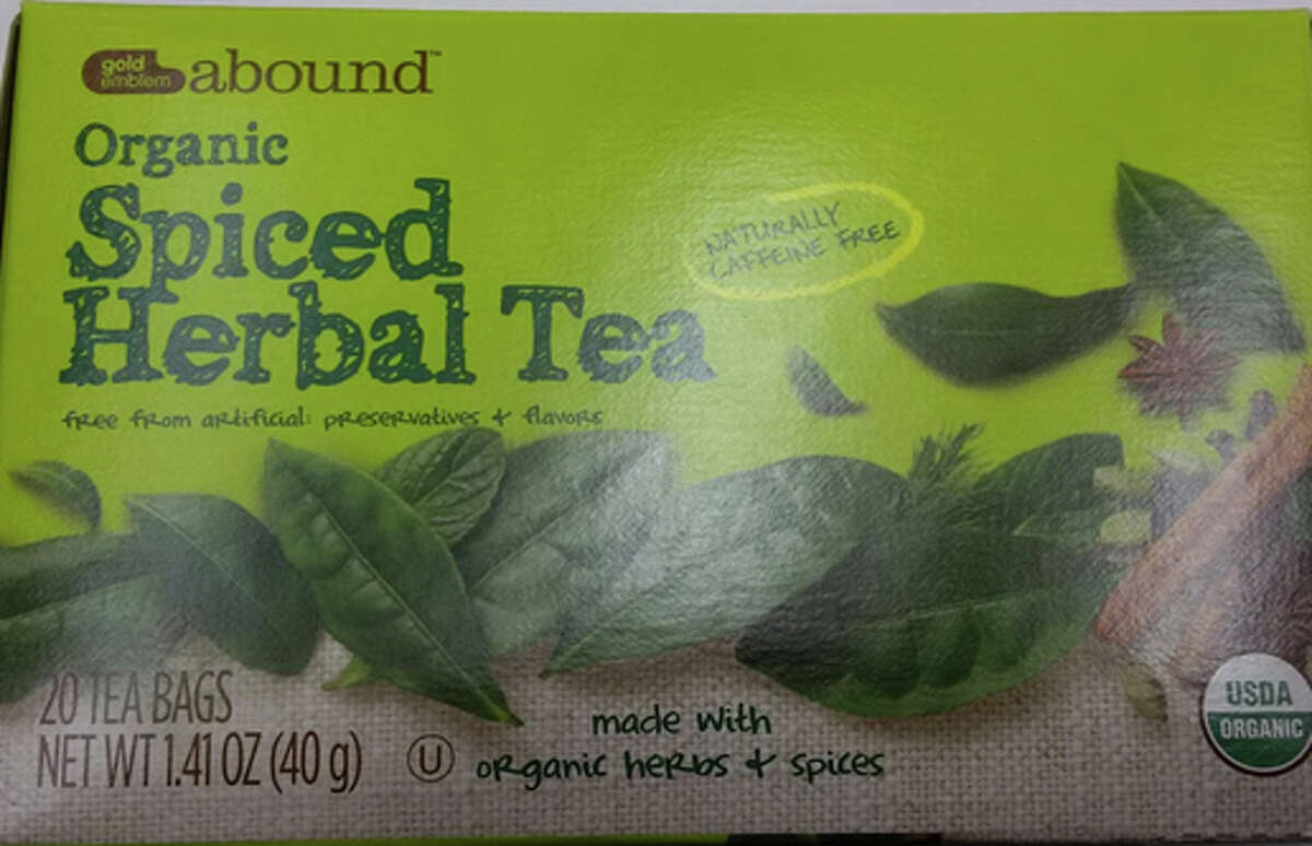 """The product is labeled """"Gold Emblem Abound Organic Spiced Herbal Tea 1.41 oz"""" and was packed in 1.4 oz cartons. The recalled product has a single best by date of 18 Mar 2018 with a UPC code 0 50428 541043. No other best by dates are affected. The product was available at CVS Pharmacy stores nationwide.Read more."""