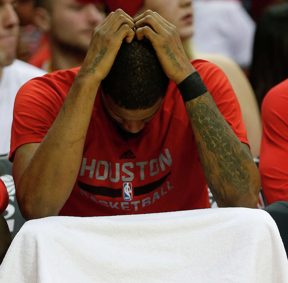 Houston Rockets forward Trevor Ariza (1) reacts on the bench during the second half of game four of the first round of the NBA playoff series at Toyota Center, Sunday, April 24, 2016, in Houston. Photo: Karen Warren, Houston Chronicle / © 2016 Houston Chronicle