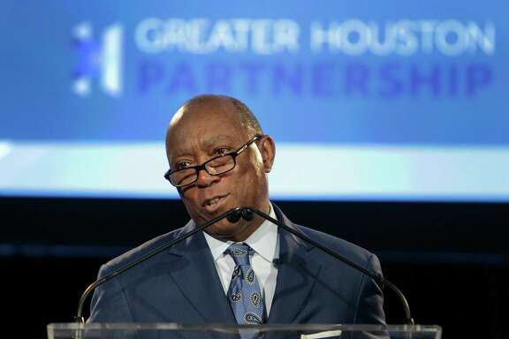 Mayor Sylvester Turner introduces Ed Emmett who delivered the State of the County address Tuesday, Feb. 2, 2016, in Houston. ( Steve Gonzales  / Houston Chronicle  )