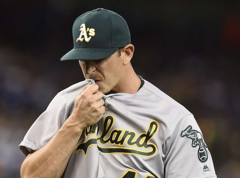 Oakland Athletics' Eric Surkamp reacts as he comes off the field after the third inning of a baseball game against the Toronto Blue Jays in Toronto, Sunday, April 24, 2016. (Frank Gunn/The Canadian Press via AP) MANDATORY CREDIT Photo: Frank Gunn, Associated Press