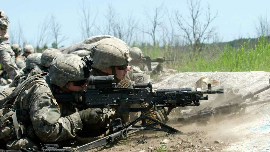 Division of Military and Naval Affairs Infantrymen of 2nd Battalion, 108th Infantry, which has units in Gloversville and Leeds, trains at Fort Drum in preparation for summer deployment to the Joint Readiness Training Center at Fort Polk, La.