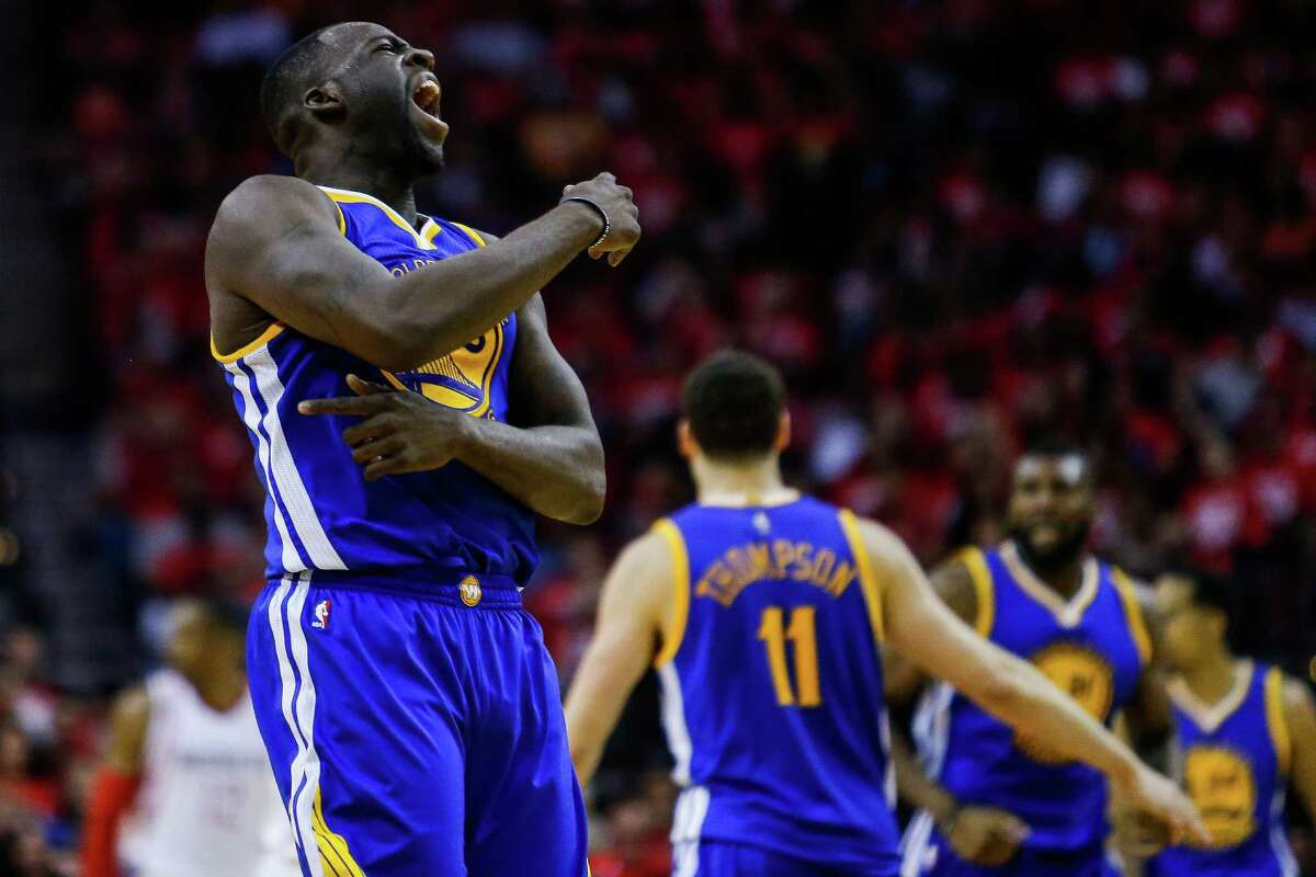 Golden State Warriors forward Draymond Green (23) reacts after hitting a three point shot during the second half in game four of a first-round NBA Playoffs series at Toyota Center Sunday, April 24, 2016 in Houston.