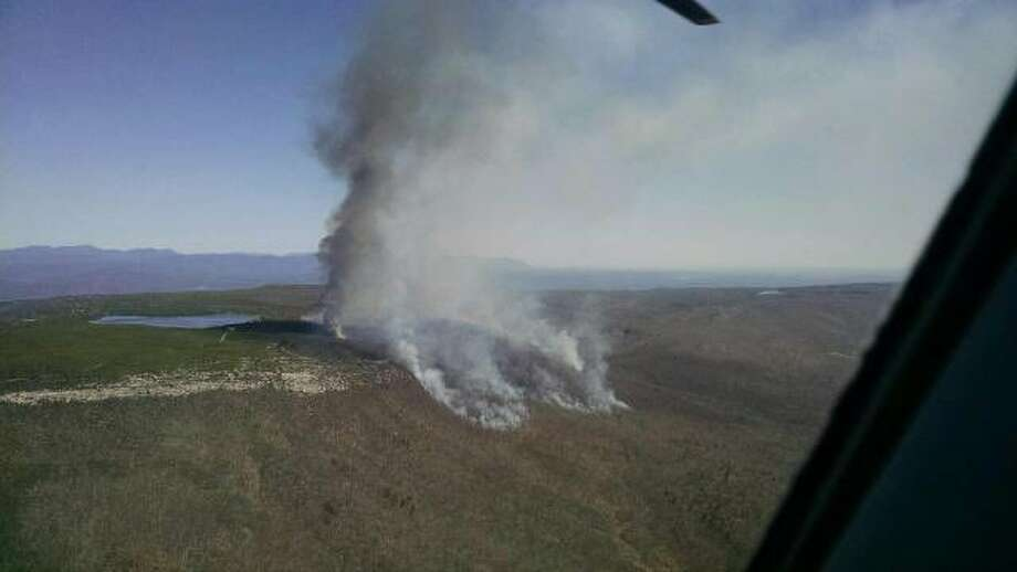 The scene from the air of a wildfire April 24, 2016 in Ulster County near the Sam's Point preserve that has consumed more than 300 acres. (Jim Malatras, New York director of state operations)