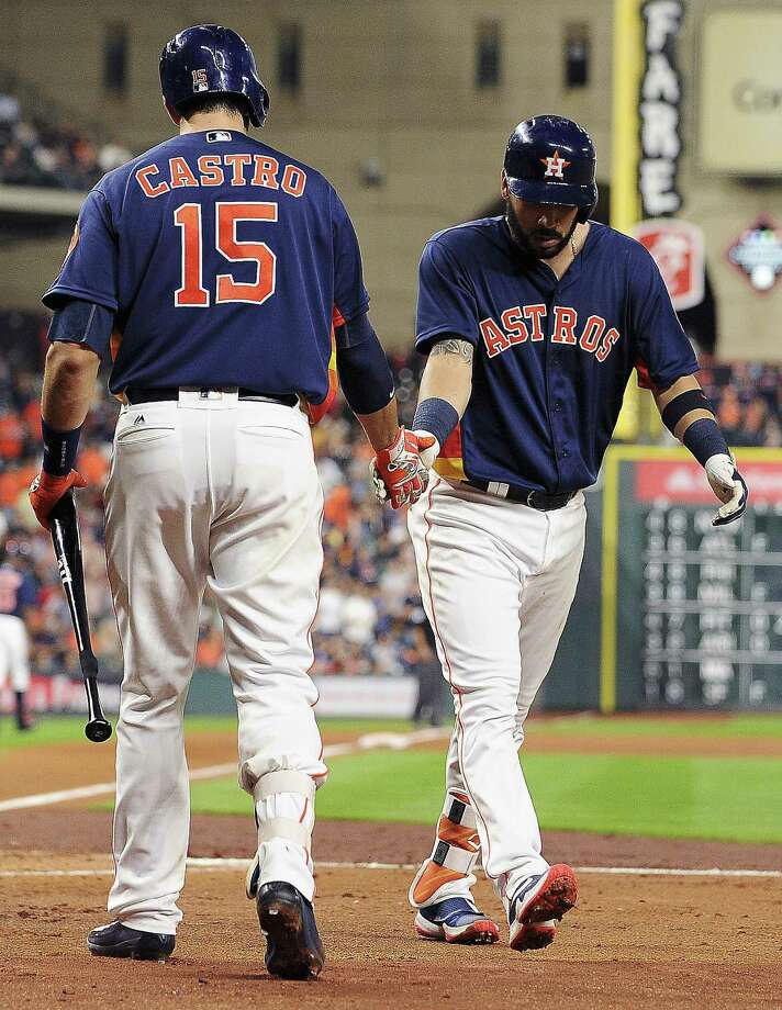 HOUSTON, TX - APRIL 24: Marwin Gonzalez #9 of the Houston Astros celebrates his solo home run with Jason Castro #15 during the second inning against the Boston Red Sox at Minute Maid Park on April 24, 2016 in Houston, Texas. Photo: Eric Christian Smith, Getty Images / 2016 Getty Images