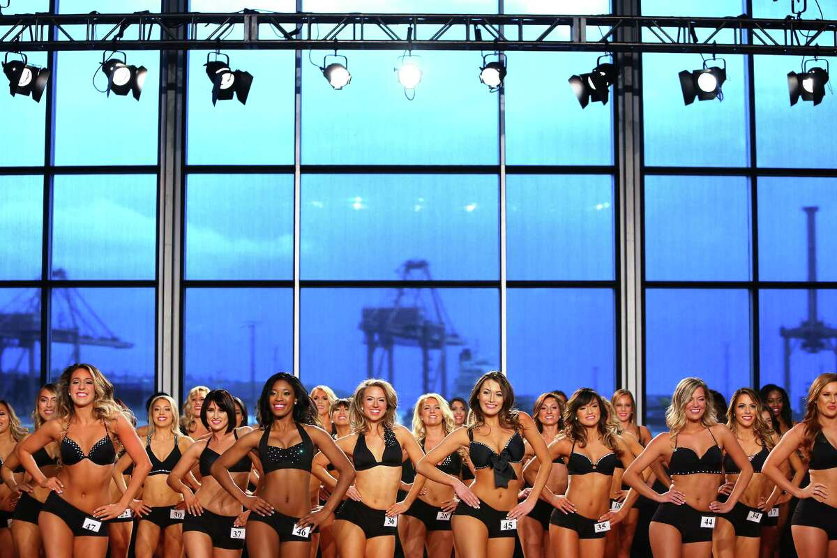 Contestants take the stage in the final round of the Sea Gal auditions Sunday, April 24, 2016, at CenturyLink Field in Seattle. More than 200 first round women were culled down to 49 to compete in the final round of auditions for a place on the 2016 squad of Seattle Seahawks cheerleaders.