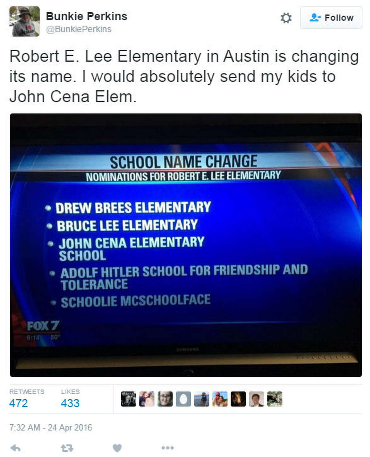An Austin school sought suggestions for a new name and got trolled by the public. Tweet via @BunkiePerkins. Click the gallery to see celebrities who support Donald Trump.