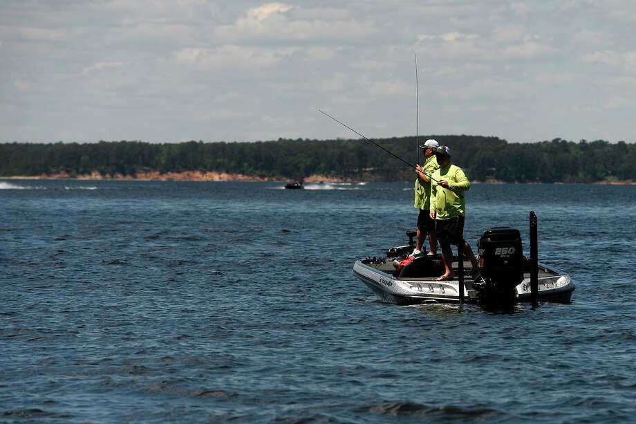 Anglers fish near the at the Big Bass Splash on Lake Sam Rayburn in Brookeland on Friday.  Photo taken Friday 4/22/16 Ryan Pelham/The Enterprise Photo: Ryan Pelham / ©2016 The Beaumont Enterprise/Ryan Pelham