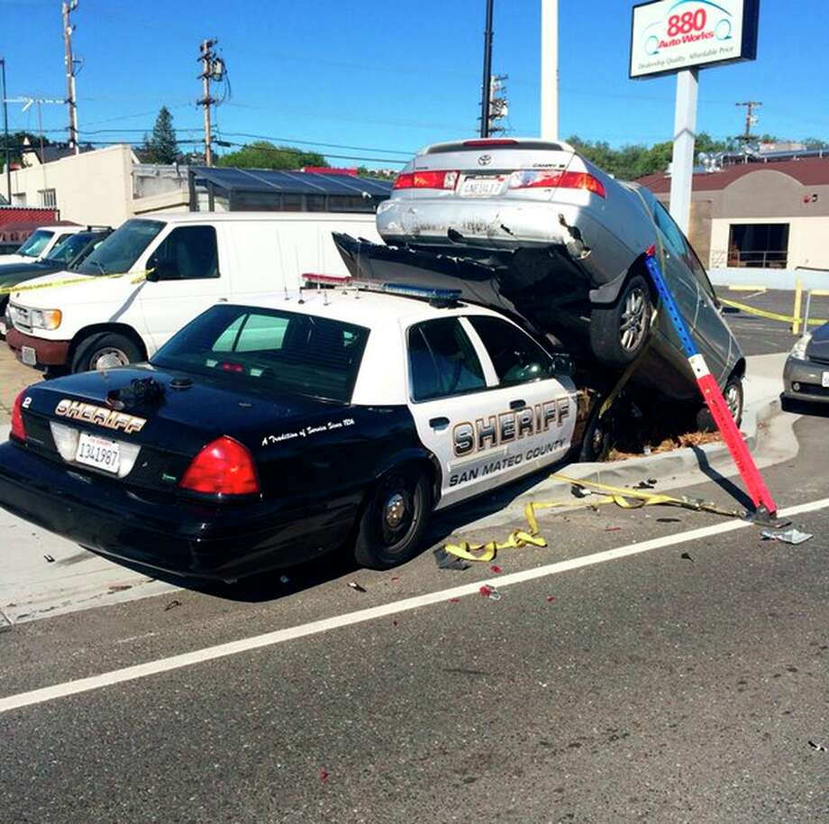 A San Mateo County sheriff's deputy crashed with a fleeing suspect Monday morning in San Carlos, closing El Camino Real at Arroyo Avenue. Photo: San Mateo County Sheriff's Office