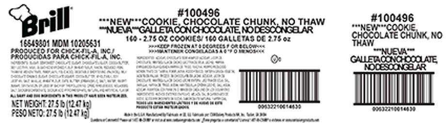 A cookie sold at Chick-Fil-A restaurants has been recalled for mislabeling. Photo: Contributed / Contributed