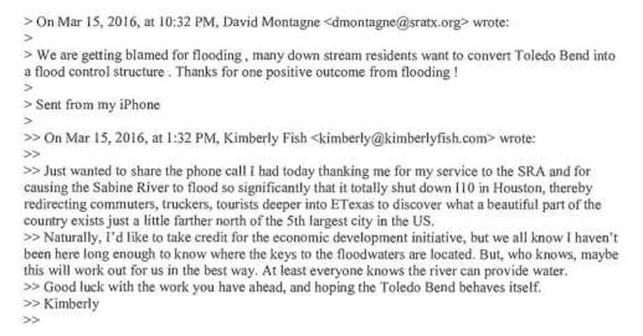 Sabine River Authority board member Kimberly Fish and SRA General Manager David Montagne discuss last month's floods in this March 15 exchange.