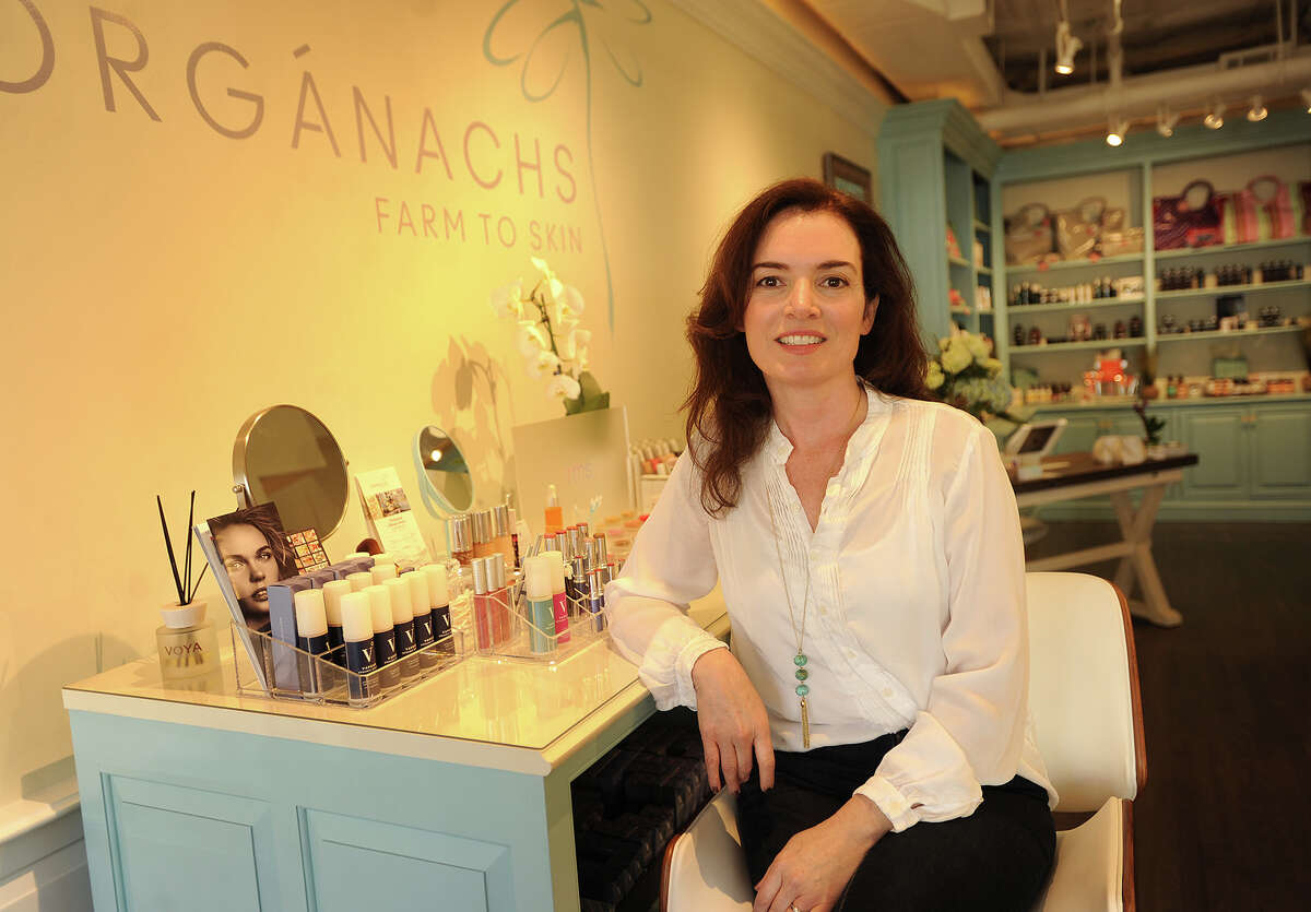 Siobhan Mckinley, owner of Organachs Farm to Skin, an organic and natural skin care and cosmetic boutique, which opened on March 1 of this year at 15 Post Road West in Westport, Conn. on Wednesday, April 20, 2016.