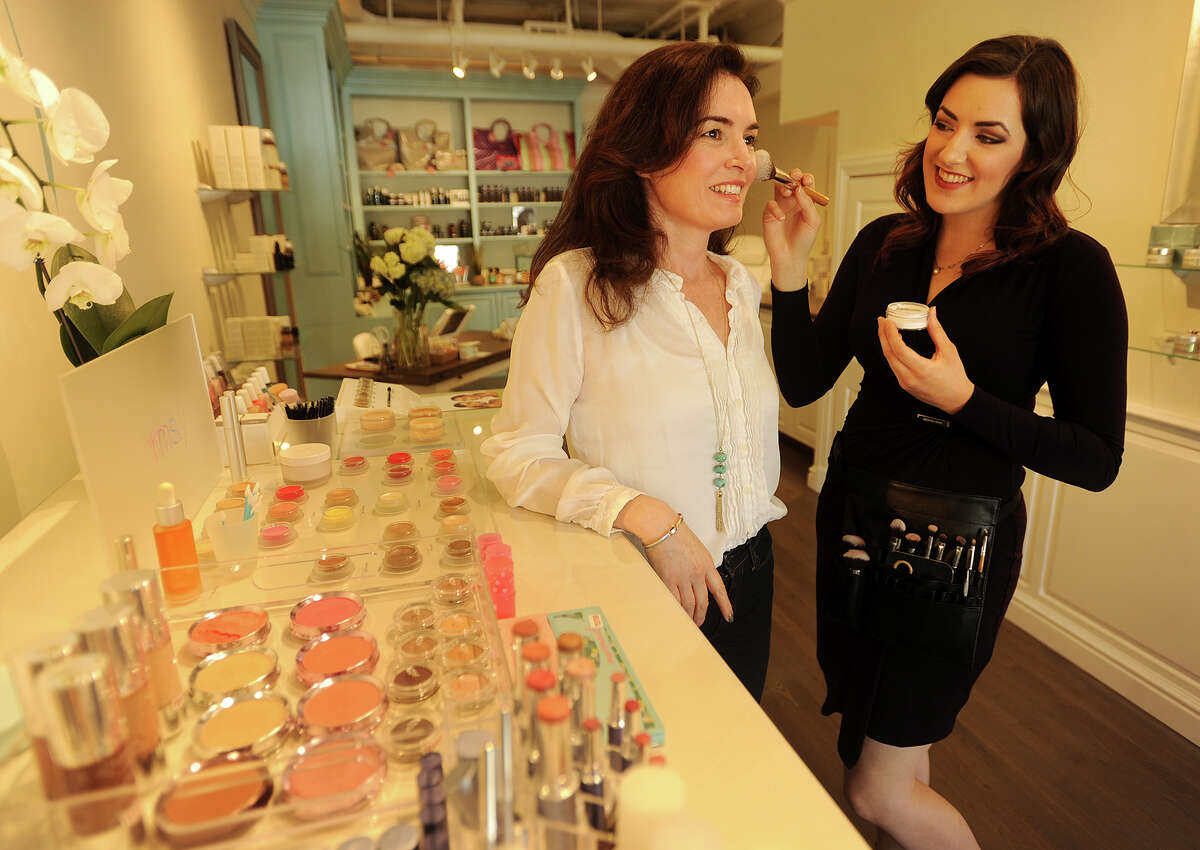 Owner Siobhan Mckinley, left, and make up artist Kristi Allen at Organachs Farm to Skin, an organic and natural skin care and cosmetic boutique, which opened on March 1 of this year at 15 Post Road West in Westport, Conn. on Wednesday, April 20, 2016.