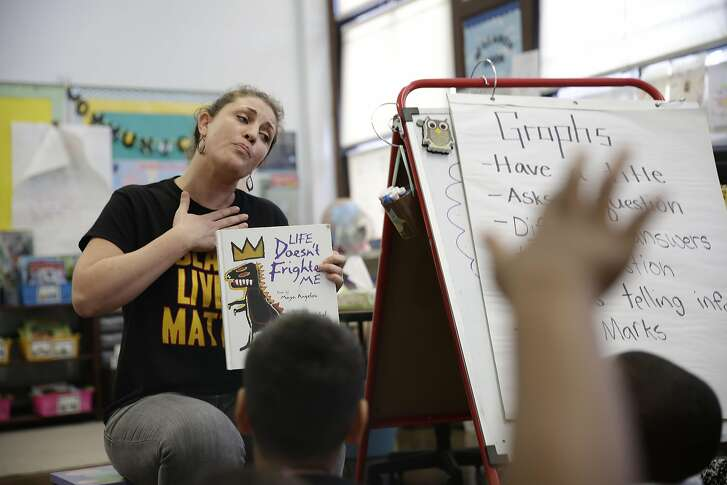Jessica Black, second grade teacher Rosa Parks Elementary School, reads to her students during class on Friday, April 8, 2016 in San Francisco, California.