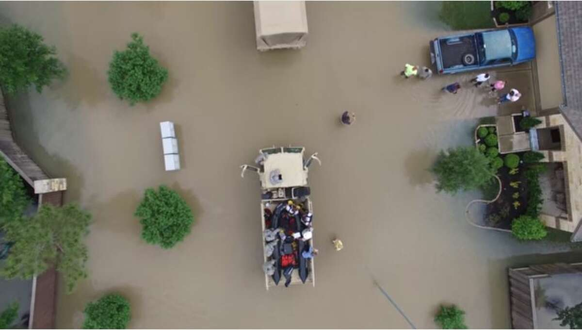 Texas Guardsmen use a drone to survey the severe flooding in the western Harris County town of Brookshire in late April 2016. Source:Texas Military Department