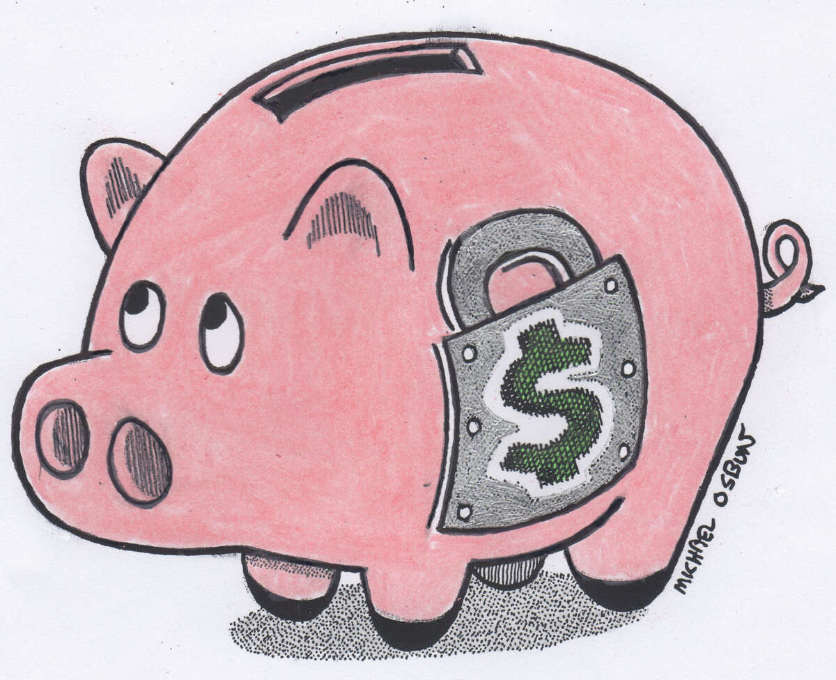 This artwork by Michael Osbun refers to protecting retirement savings plans.