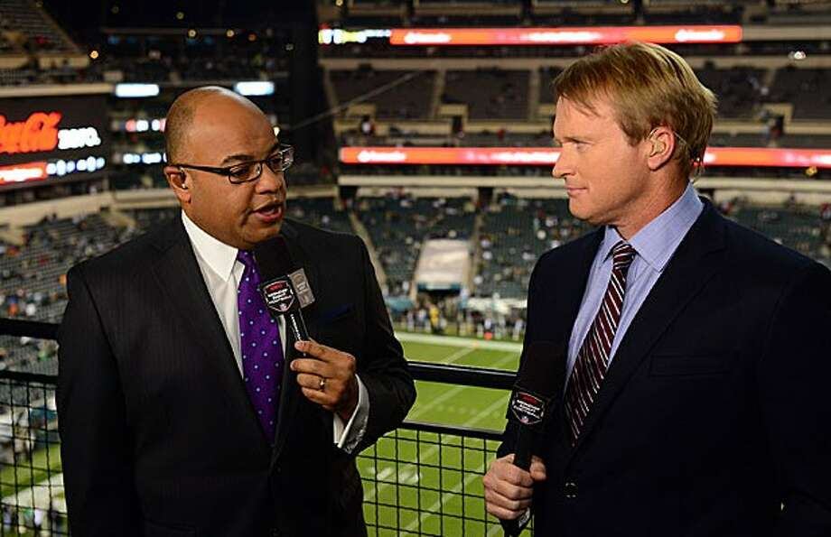 "Mike Tirico (left) reportedly will be leaving his ""Monday Night Football"" post next to Jon Gruden to work for NBC."