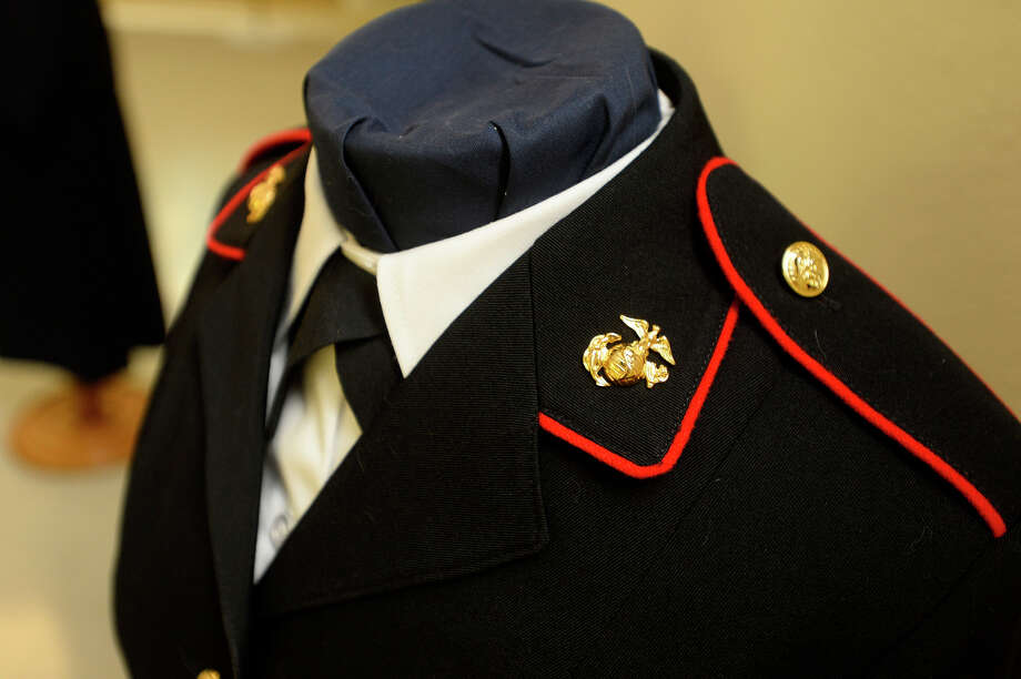 A woman's Marine uniform on display at the history of United States military uniforms exhibit at the Clifton Steamboat Museum. The uniforms will be on display until May 31.  Photo taken Friday 4/15/16 Ryan Pelham/The Enterprise Photo: Ryan Pelham / ©2016 The Beaumont Enterprise/Ryan Pelham