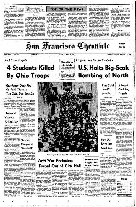 The Chronicle's front page from May 5, 1970, covers the Kent State shootings.