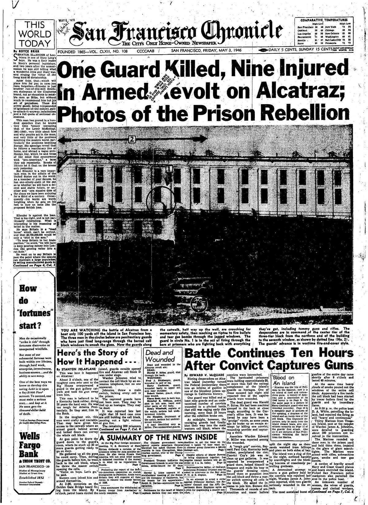 Historic Chronicle Front Page May 3, 1946 Prison rebellion on Alcatraz Chron365, Chroncover