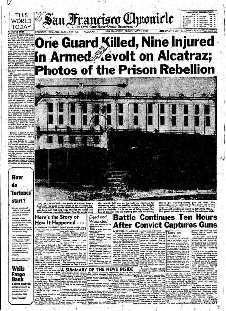 The Chronicle's front page from May 3, 1946, covers a revolt on Alcatraz.