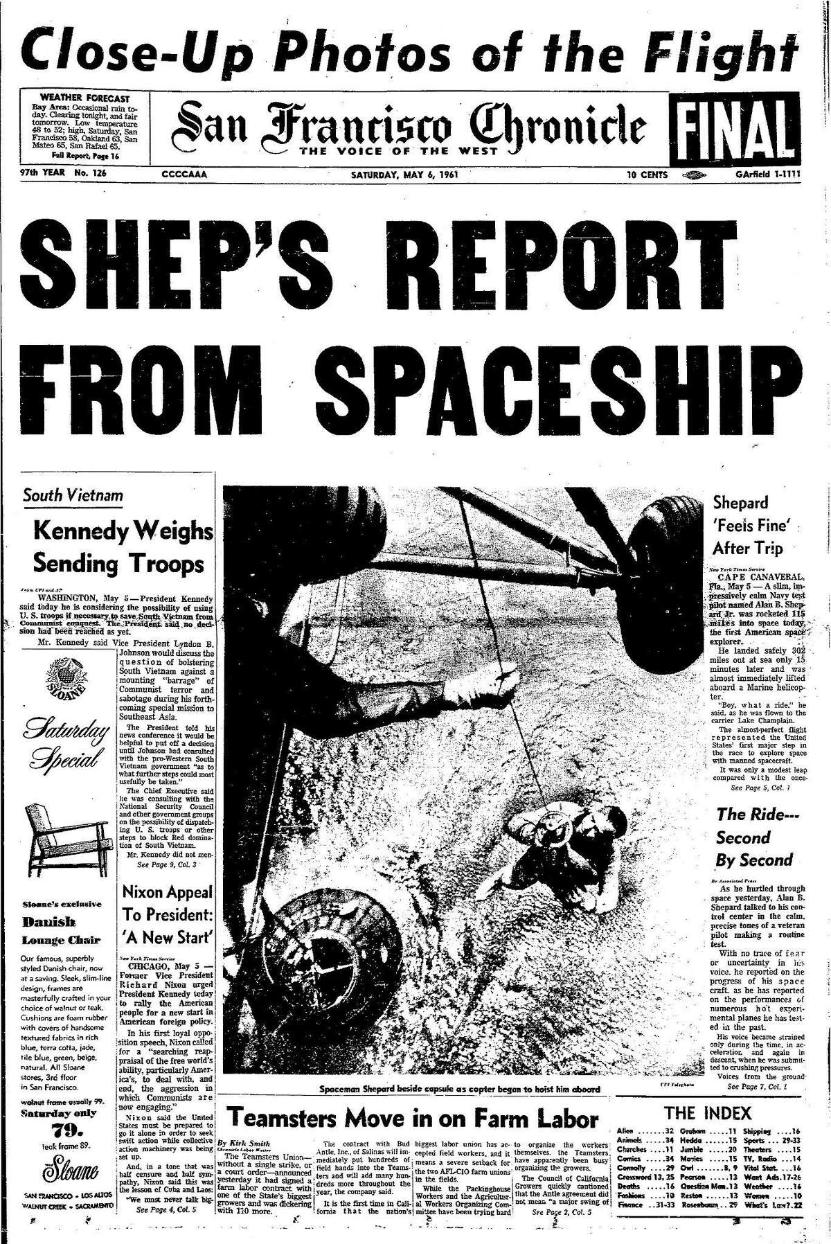 Historic Chronicle Front Page May 6, 1961 Alan Shepard returns from space Chron365, Chroncover