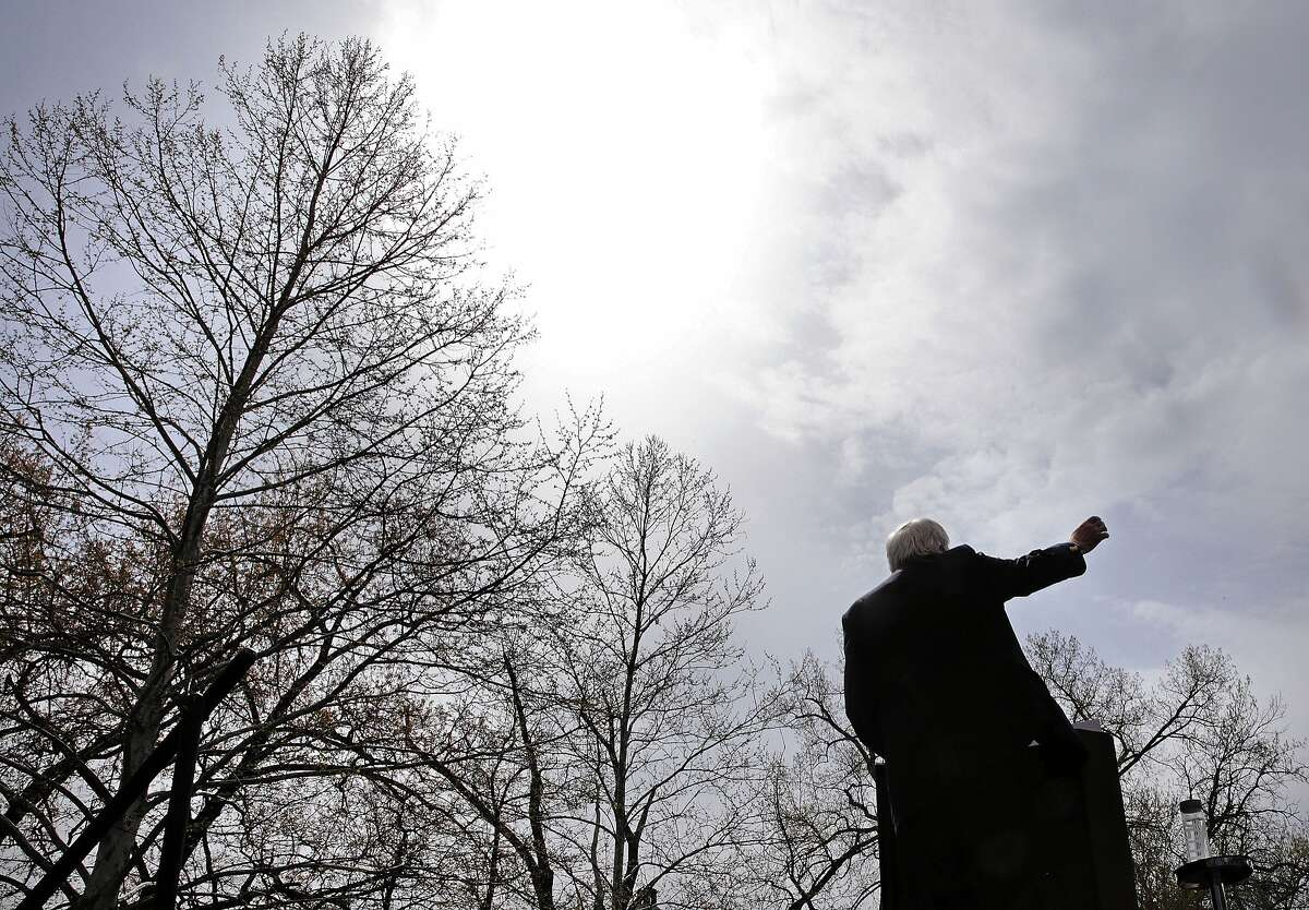 Democratic presidential candidate Sen. Bernie Sanders, I-Vt., gestures during a campaign rally in Hartford, Conn., Monday, April 25, 2016. (AP Photo/Charles Krupa)