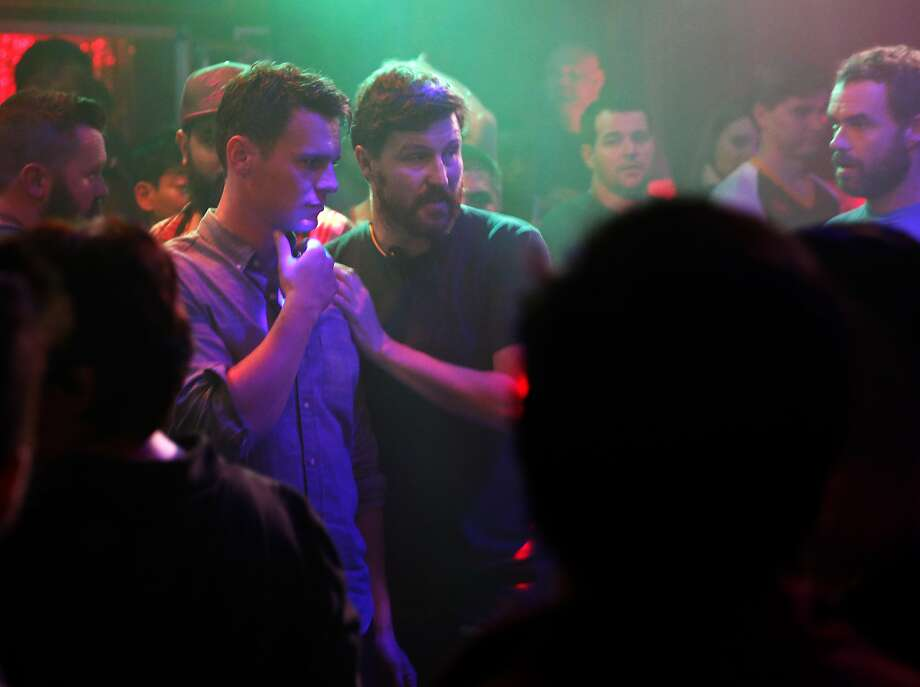 """HBO's """"Looking"""" executive producer/director Andrew Haigh talks with Jonathan Groff  (left) as the show films at The Stud Bar in San Francisco, Calif., on Thursday, November 12, 2015. Photo: Scott Strazzante, The Chronicle"""