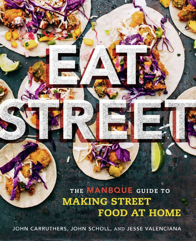 Fried Avocado Tacos with Tequila Lime Crema from EAT STREET Â 2016 by John Carruthers, John Scholl and Jesse Valenciana, Running Press, a member of the Perseus Books Group. Photo: Charleskaszytski