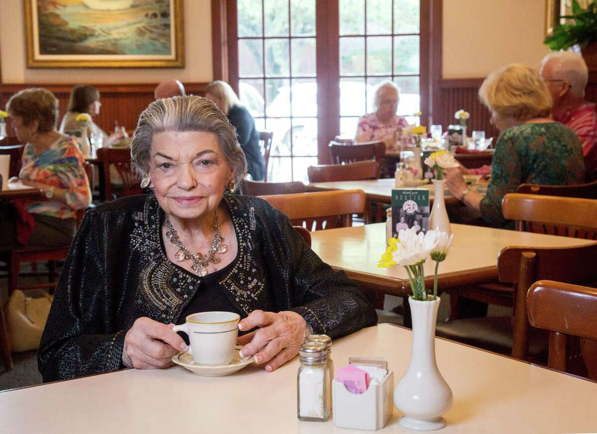 Pat Mickelis poses for a portrait at Cleburne Cafeteria Wednesday, April 13, 2016, in Houston. Mickelis and her late husband bought the cafeteria in 1952. ( Jon Shapley / Houston Chronicle )
