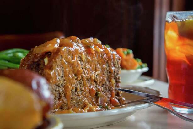 Old fashioned meatloaf, from Cleburne Cafeteria, is seen Wednesday, April 13, 2016, in Houston. ( Jon Shapley / Houston Chronicle )