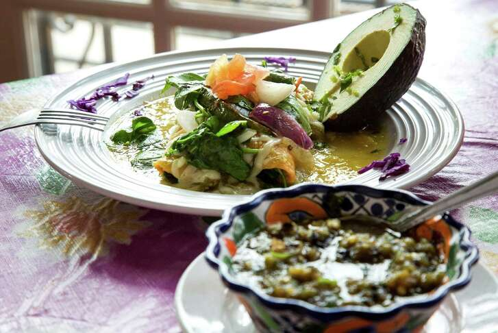 The fresh spinach enchilada, from Irma's Original, is seen Thursday, April 14, 2016, in Houston.  ( Jon Shapley / Houston Chronicle )