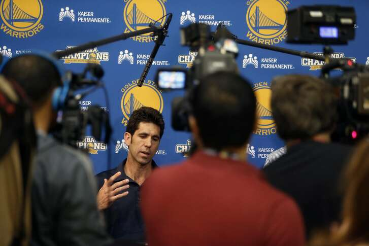 Golden State Warriors' general manager Bob Myers discusses Stephen Curry's knee injury in Oakland, Calif., on Monday, April 25, 2016.