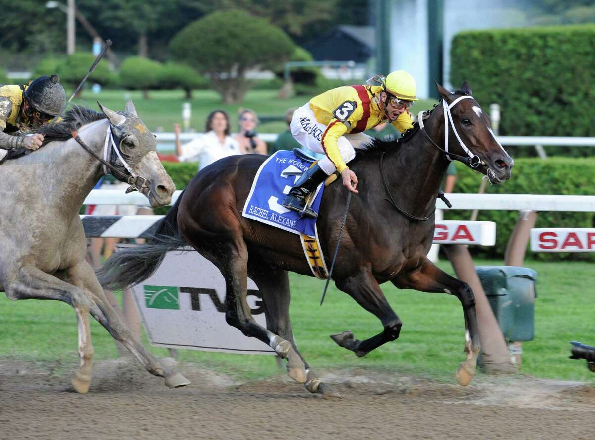 Rachel Alexandra with Calvin Borel on the way to winning the 56th running of the Woodword at the Saratoga Race Course on Sept. 5, 2009, in Saratoga Springs, N.Y. (Skip Dickstein / Times Union)