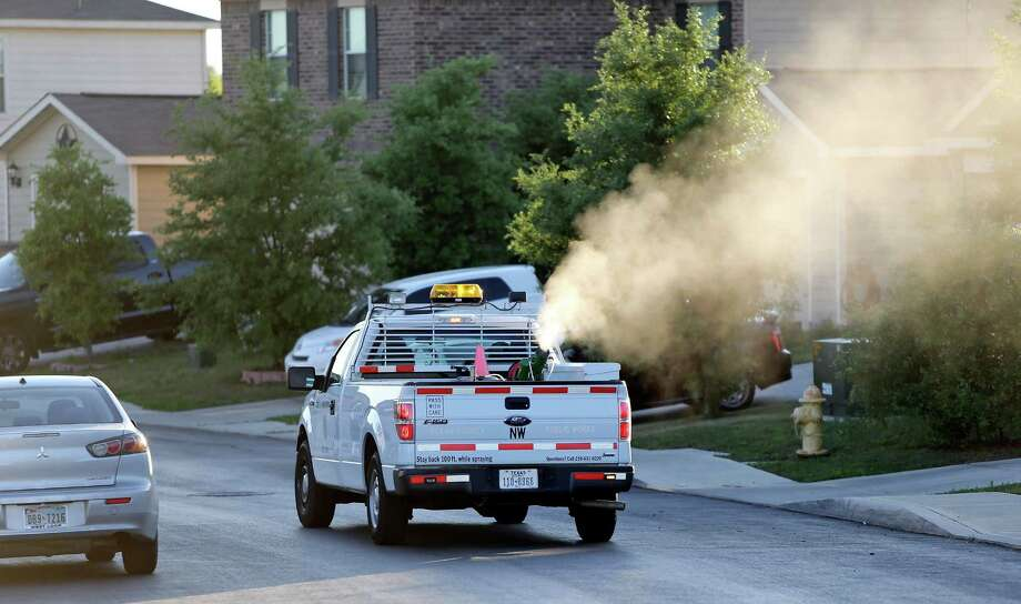 """A Bexar County crew sprays for mosquitoes this month. Mayor Ivy Taylor said that although mosquitoes in the area are not infected with the Zika virus, """"we're still working diligently to prepare in the event that one day that happens."""" Photo: Edward A. Ornelas / San Antonio Express-News / © 2016 San Antonio Express-News"""