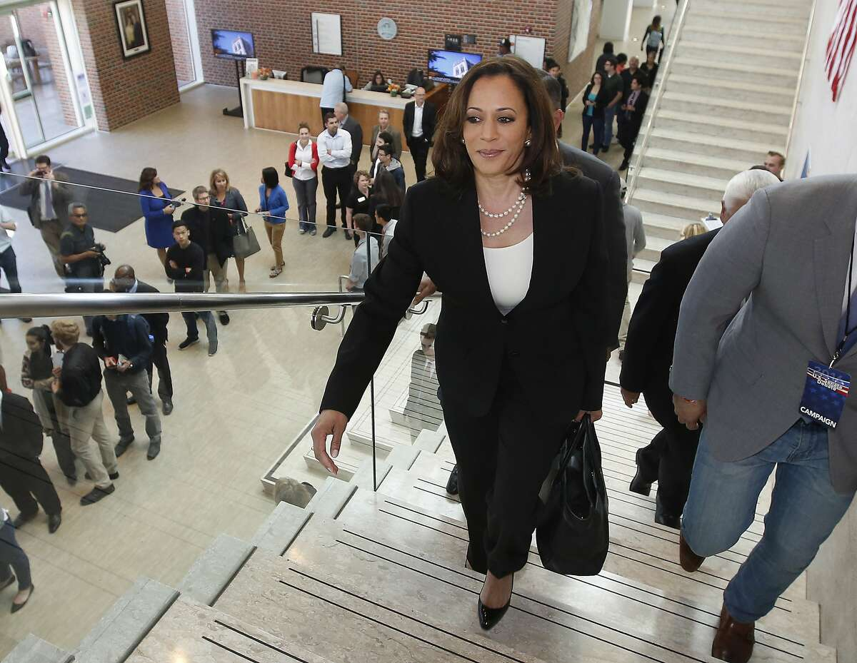 California Attorney General Kamala Harris, a candidate for the U.S. Senate, arrives at the DeRosa University Center, for the first debate among the five U.S.Senate at the University of the Pacific, Monday, April 25, 2016, in Stockton, Calif. Harris, a Democrat, debated fellow Democrat, Rep. Loretta Sanchez and Republicans Duf Sundheim, Tom Del Beccaro, and Ron Unz. (AP Photo/Rich Pedroncelli)
