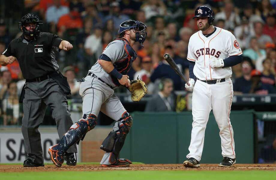 Astros rookie first baseman Tyler White (13) admits to letting his five home runs in his first 15 games go to his head a little bit. Photo: Elizabeth Conley, Staff / © 2016 Houston Chronicle