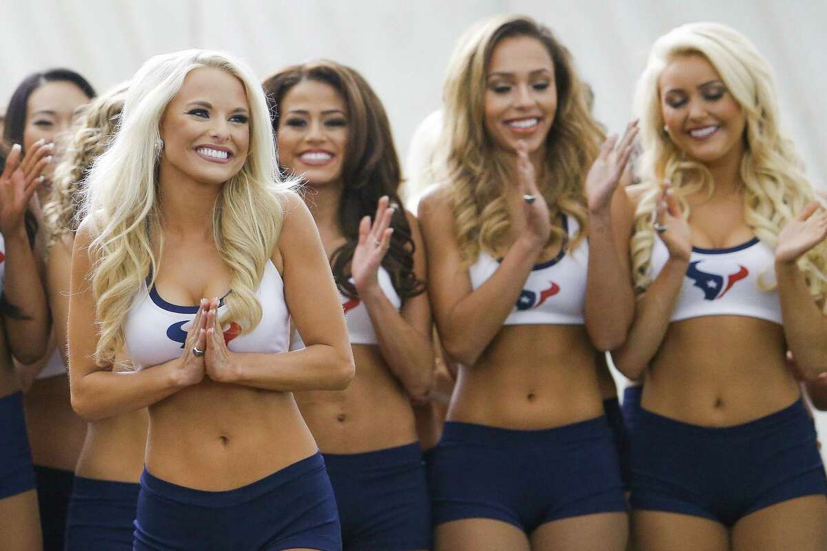 The new Houston Texans cheerleaders celebrate as they find out they made the team for the 2016-17 season at the Methodist Training Center Monday, April 25, 2016 in Houston.