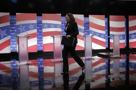California Attorney General Kamala Harris departs the stage after the U.S. Senate debate among the five leading candidates at The University of the Pacific in Stockton, Calif., on Monday, April 25, 2016.