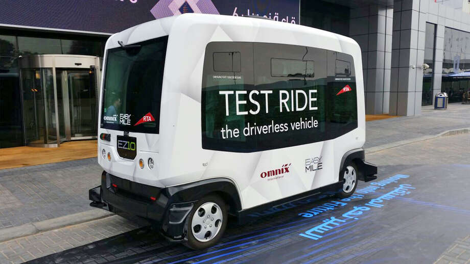 A 10-seat driverless car gets a test run during the Middle East and North Africa Transport Congress Exhibition in Dubai, United Arab Emirates. Dubai's ruler wants to have 25 percent of all trips in Dubai to be in driverless vehicles by 2030. Photo: Untitled, HOGP