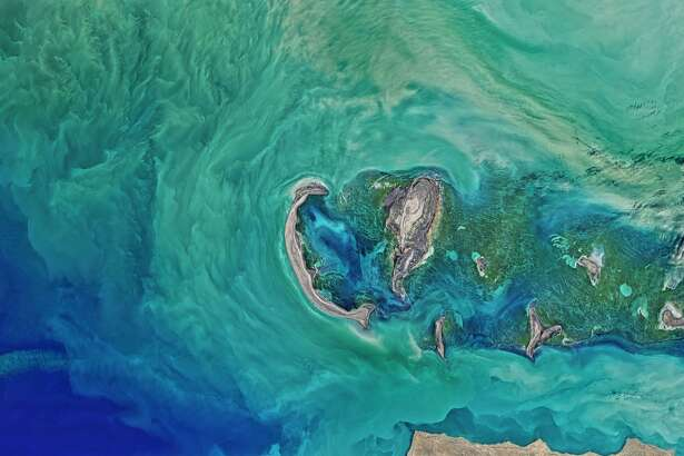 NASA caption: The Operational Land Imager (OLI) on NASA's Landsat 8 satellite acquired this large natural-color image showing a view of the Caspian Sea around the Tyuleniy Archipelago on April 16, 2016.