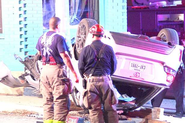 Two men were seriously injured Tuesday morning during a rollover crash just north of downtown, according to the San Antonio Police Department.