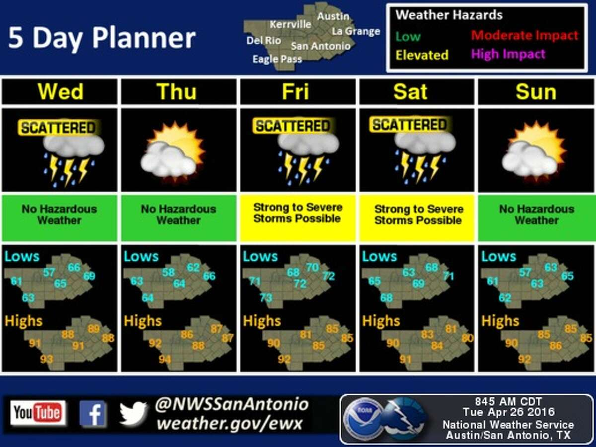 Chances for damaging hail are expected to continue Tuesday night into Wednesday morning in San Antonio and surrounding areas.