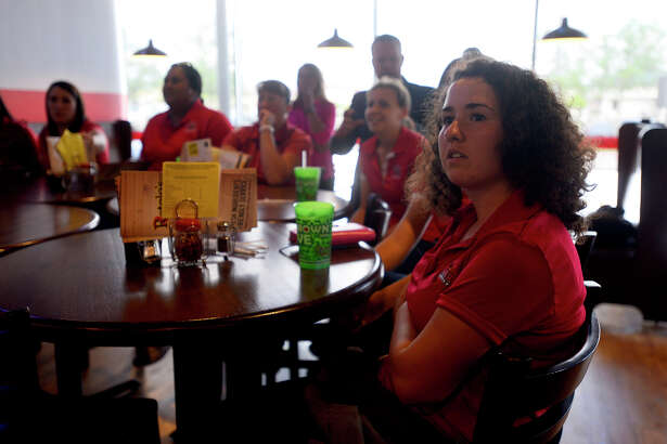 Lamar golfers watch the NCAA D1 Women's Golf Regionals selection show on Monday afternoon. The Cardinals will be playing at the Traditions Club in Bryan.  Photo taken Monday 4/25/16 Ryan Pelham/The Enterprise