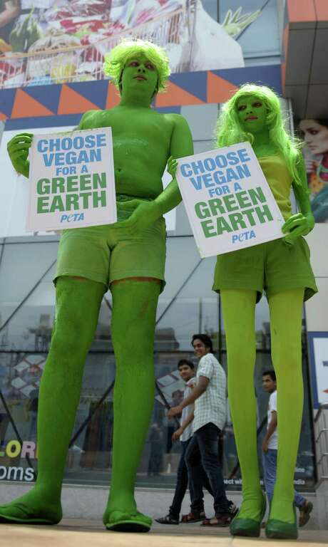 Indian PETA activists demonstrate  in Hyderabad on April 22, World Earth Day. Photo: NOAH SEELAM, AFP/Getty Images / AFP