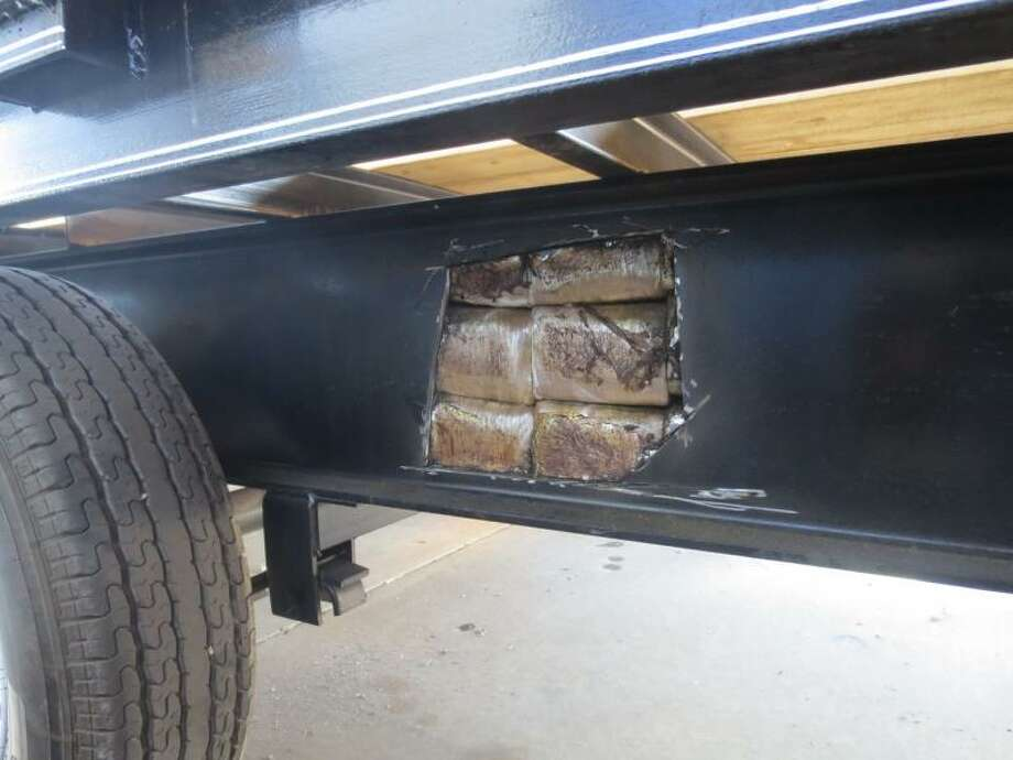 U.S. Customs and Border Protection officers found 283 pounds of marijuana — with an estimated street value of $225,000 — inside of the frame of a gooseneck trailer trying to cross the U.S.-Mexico border Friday at the Presidio port of entry in West Texas, U.S. Customs and Border Protection announced Monday. Photo: U.S. Customs And Border Protection