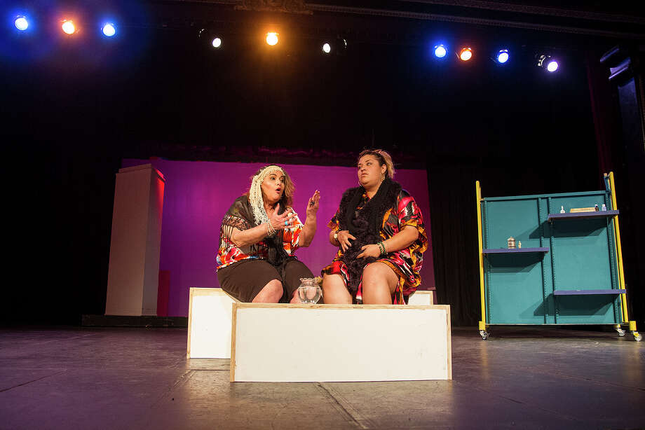 """(Left to right) Janie Sauceda and Ruby Ruiz rehearsing """"Enfrascada,"""" at the Guadalupe Theater, Wednesday, April 20, 2016. The play was written by Tanya Saracho, who has written for such television shows as """"How to Get Away with Murder,"""" """"Devious Maids"""" and """"Girls."""" Photo: Alma E. Hernandez, For The San Antonio Express News / Alma E. Hernandez / For The San Antonio Express News"""