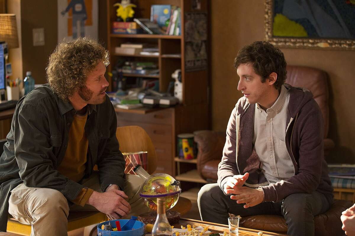 T.J. Miller and Thomas Middleditch in a production still from season three of HBO's