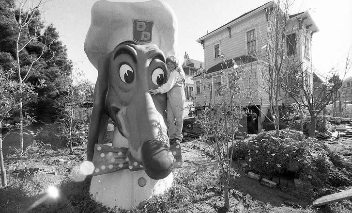 Andrea Brown, who's father Ted Brown bought a Doggie Dinner head at a KQED auction. The neighbors were displeased.
